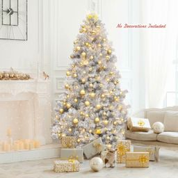 7.5Ft Hinged Unlit Artificial Silver Tinsel Christmas Tree   Walmart (US)