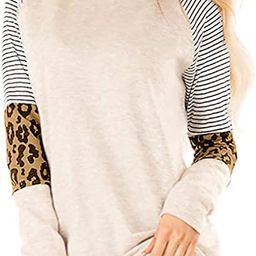 Aifer Women's Leopard Print Color Block Tunics Casual Long Sleeve Shirts Striped Blouse Tops | Amazon (US)