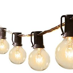 25Ft G40 Outdoor Patio String Lights-Connectable Globe Lights with 26 Clear Bulbs(1 Spare), UL Li... | Amazon (US)