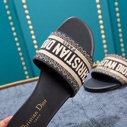 Dior Dway Navy Sandal Slide Embroidered Slipper | Etsy (US)