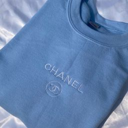Light Blue C h a n e l Inspired Embroidered Crewneck | Etsy (US)