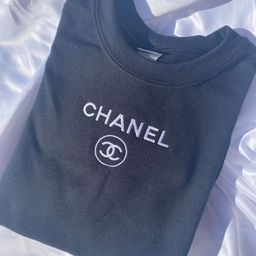 BLACK C h a n e l Inspired Embroidered Crewneck | Etsy (US)