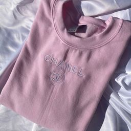 Light Pink C h a n e l Inspired Embroidered Crewneck | Etsy (US)