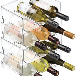 mDesign Modern Plastic Stackable Vertical Standing Wine Bottle Holder Stand - Storage Organizer f... | Amazon (US)