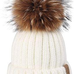 FURTALK Winter Knit Hat Detachable Real Raccoon Fur Pom Pom Womens Girls Warm Knit Beanie Hat | Amazon (US)