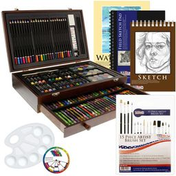 US Art Supply 162 Piece-Deluxe Mega Wood Box Art, Painting & Drawing Set contains all the supplie... | Walmart (US)