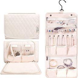 Caperci Hanging Travel Jewelry Organizer Case Beige Leather Foldable Jewelry Roll for Storage Tra...   Amazon (US)