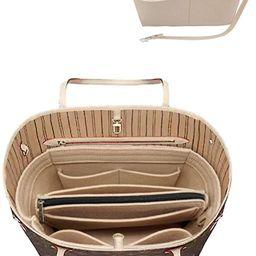 Felt Purse Bag Organizer Insert with zipper Bag Tote Shaper Fit Speedy Neverfull MM GM | Amazon (US)