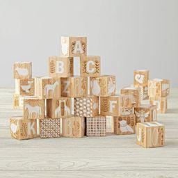 Etched Wooden Blocks + Reviews   Crate and Barrel   Crate & Barrel