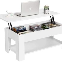 YAHEETECH Lift Top Coffee Table with Hidden Compartment and Storage Shelf - Lift Tabletop for Liv... | Amazon (US)
