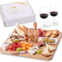 Exquisite Cheese Board and Knife Set by Maison del Mar - Charcuterie Board Set & Cheese Serving P... | Amazon (US)