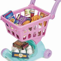 Play Circle by Battat – Pink Shopping Day Grocery Cart – Toy Shopping Cart with Pretend Play ... | Amazon (US)