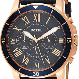 Fossil Men's Grant Sport Stainless Steel and Leather Chronograph Quartz Watch | Amazon (US)