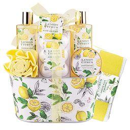 Bath& Shower Spa Basket Gift Set, Lemon Citrus Spa Gift Basket Kits for Women, Good Gift Idea for... | Amazon (US)