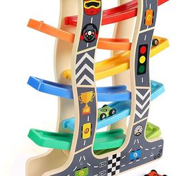 Lewo Toddler Toys Wooden Ramp Racer for Girls Boys Wood Race Track with 8 Mini Cars | Amazon (US)