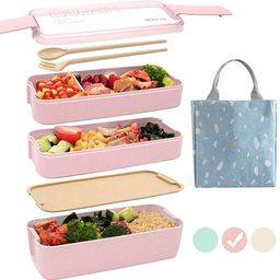 Ozazuco Bento Box for Kids Japanese Lunch Bento Box, 3-In-1 Compartment - Wheat Straw, Leakproof ... | Amazon (US)