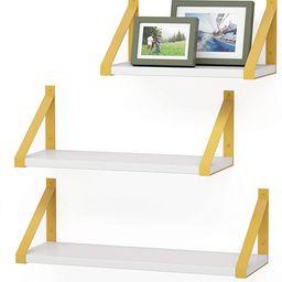 PDEEY Gold Floating Shelves Wall Mounted Set of 3, Modern White Wall Shelf for Bathroom, Bedroom,... | Amazon (US)
