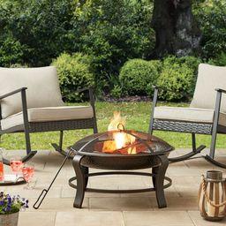 Mainstays Owen Park 28 inch Round Wood Burning Fire Pit | Walmart (US)