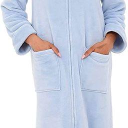 Alexander Del Rossa Women's Zip Up Fleece Robe, Warm Loose Sherpa Bathrobe | Amazon (US)