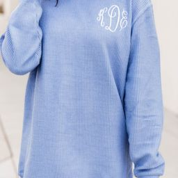 Monogrammed Corded Blue Sweatshirt   The Pink Lily Boutique