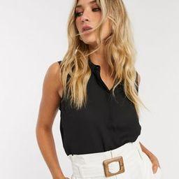 ASOS DESIGN sleeveless soft shirt in black   ASOS (Global)