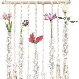 23 Bees, Macrame Wall Hangings Test Tube Vase, Hanging Plastic Flower Container, Boho Fringe Deco... | Amazon (US)