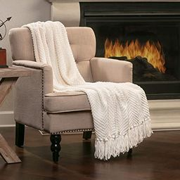 Chanasya Textured Knitted Super Soft Throw Blanket with Tassels Warm Cozy Lightweight Fluffy Wove...   Amazon (US)
