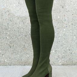 Nature Breeze Over the Knee Women's Sock Boots in Olive | Walmart (US)