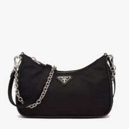 Chain-embellished leather and recycled-nylon shoulder bag | Selfridges