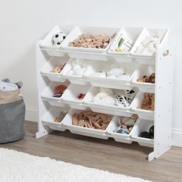 Super-Sized Toy Organizer with 16 Plastic Bins, White/White   Walmart (US)