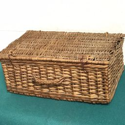 Vintage Wicker Rattan Basket with Hinged Lid, French Brocade Basket, Suitcase Style Picnic Basket...   Etsy (US)