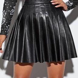 PU Leather Pleated Skirt | SHEIN