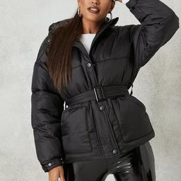 Black Self Belted Puffer Jacket | Missguided (US & CA)