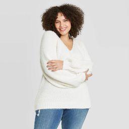 Women's Plus Size V-Neck Pullover Sweater - Ava & Viv™   Target