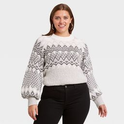 Women's Plus Size Crewneck Fair Isle Pullover Sweater - Ava & Viv™ Gray   Target