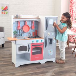 KidKraft Mosaic Magnetic Play Kitchen with 9 Piece Accessory Play Set - Coral | Walmart (US)