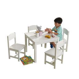 KidKraft Farmhouse Table & 4 Chairs Set - White | Walmart (US)