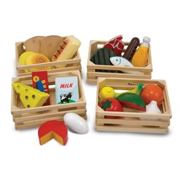 Melissa & Doug Food Groups - 21 Hand-Painted Wooden pieces and 4 Crates | Walmart (US)
