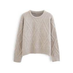 Crisscross Pattern Fuzzy Knit Sweater in Sand | Chicwish