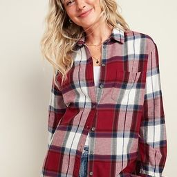 Women / TopsOversized Plaid Flannel Boyfriend Tunic Shirt for Women   Old Navy (US)