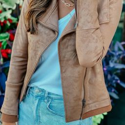 The Moto Babe Tan Faux Leather Jacket | Apricot Lane Boutique