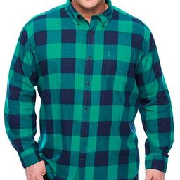 The Foundry Supply Men's Classic Fit Long Sleeve Flannel Shirt Green Blue Buffalo Plaid   Amazon (US)