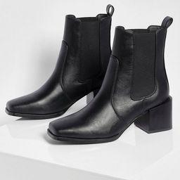 Elastic Panel Low Block Heel Shoe Boot   Boohoo.com (US & CA)