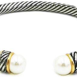 Fashion Jewelry Brand Cable Wire Bangle Elegant Beautiful Imitation Pearl Valentine   Amazon (US)