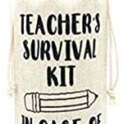 Present for Teacher Gift for Coworkers Teacher Appreciation gifts Wine bags-Teacher's Survival ki...   Amazon (US)