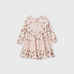 OshKosh B'gosh Toddler Girls' Mixed Floral Long Sleeve Dress - Burgundy   Target
