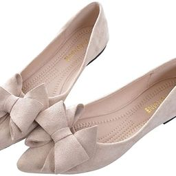 SAILING LU Bow-Knot Ballet Flats Womens Pointy Toe Flat Shoes Suede Dress Shoes Wear to Work Slip...   Amazon (US)