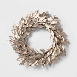 22in Pre-lit Artificial Christmas Wreath with Warm White Battery Operated LED Lights Champagne Go... | Target