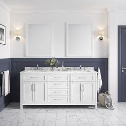 OVE Decors Tahoe 72-in White Double Sink Bathroom Vanity with White Carrara Natural Marble Top (M... | Lowe's