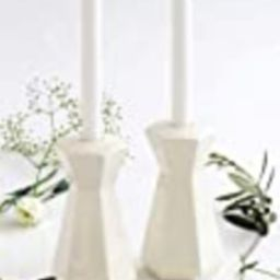 Pair of Shabbat Candlesticks Handmade of White Ceramic, Geometric Modern Judaica, Tall Hexagon Candl   Amazon (US)